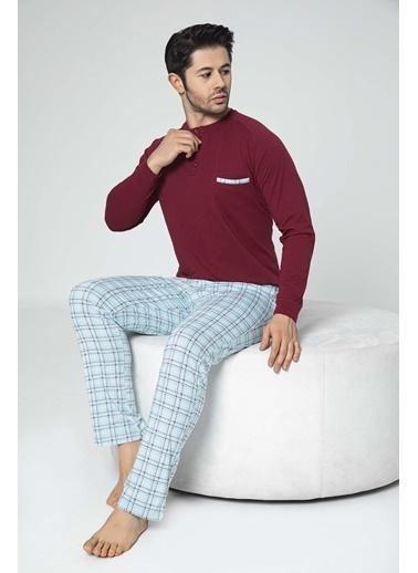 Aydoğan Erkek Süprem Altı Ekoseli Üstü Düz Pijama Takımı Renkli